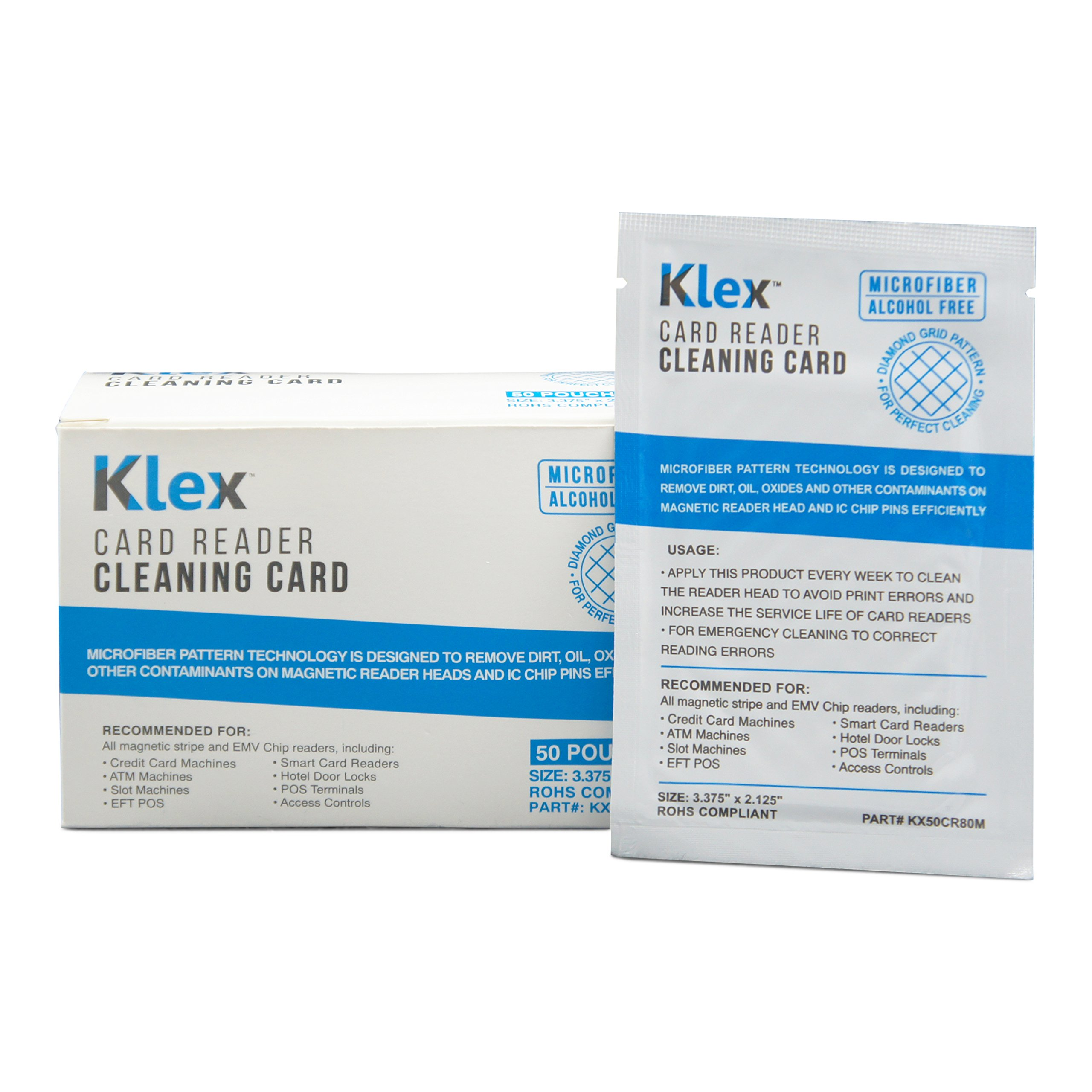 Klex Microfiber Credit Card Magnetic Reader Cleaning Card Alcohol Free 50 cards