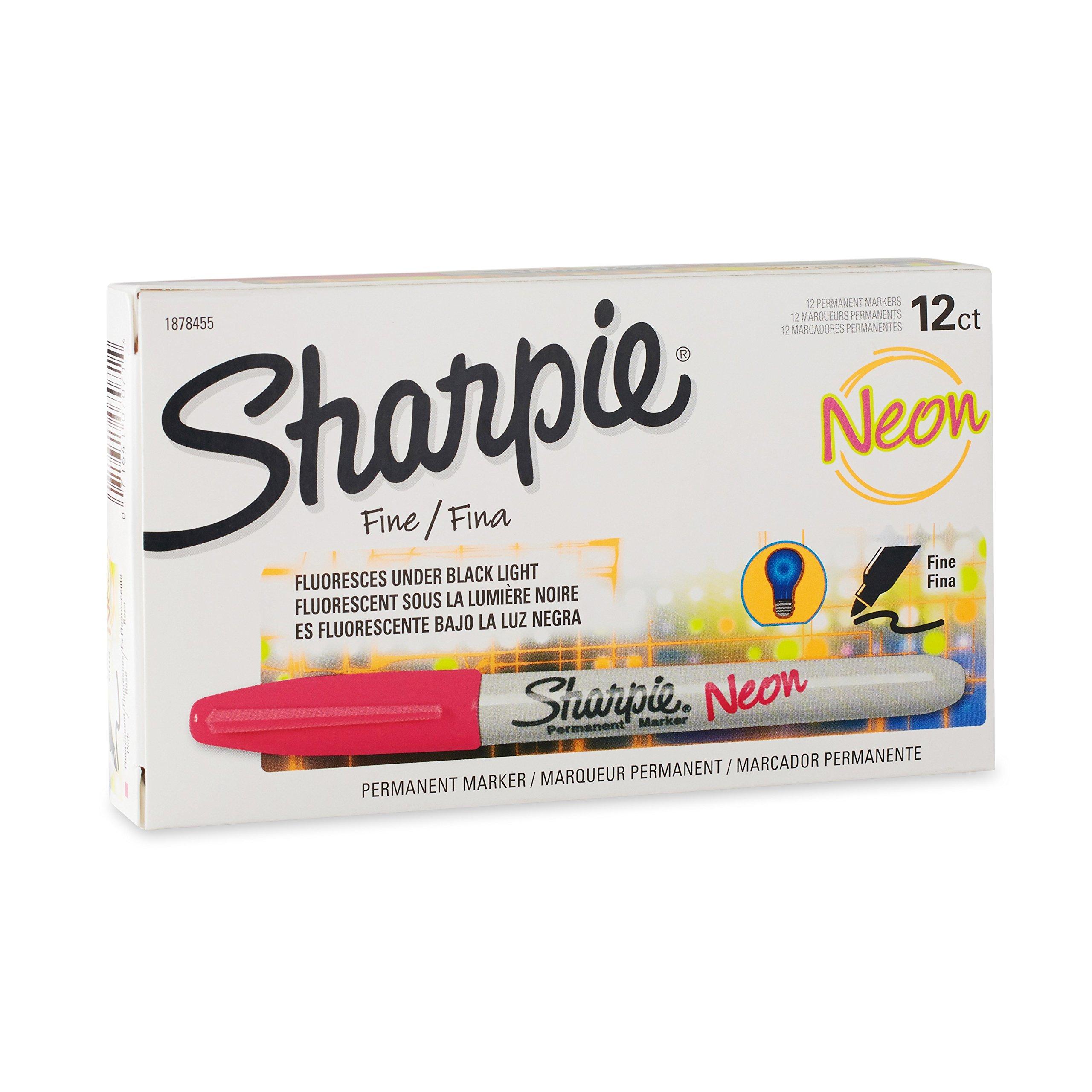 Sharpie 1878455 Neon Fine Point Permanent Marker, Neon Pink, 12-Pack