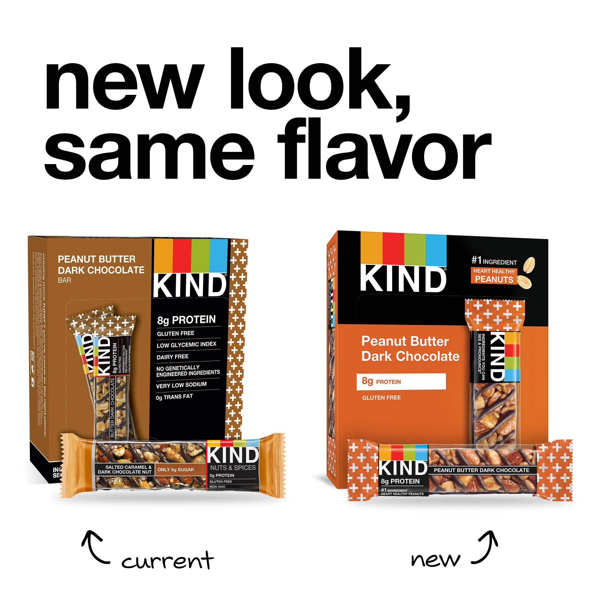 KIND Bars, Peanut Butter Dark Chocolate, 8g Protein, Gluten Free, 1.4 Ounce Bars, 24 Count by KIND (Image #4)