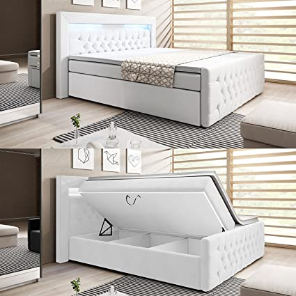 wohnenluxus - Cama con somier, 180 x 200 cm, función de elevación, cajón de cama, incluye topper/cabecero LED
