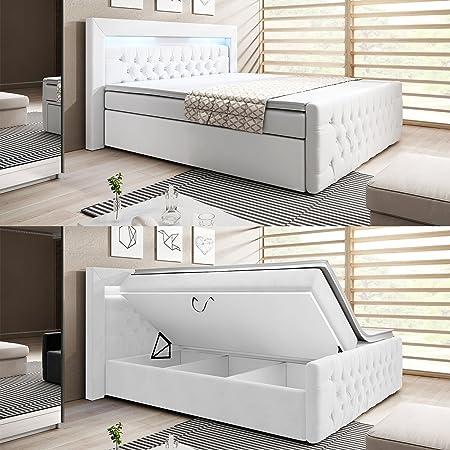 wohnenluxus Boxspringbett / 180x200 / Liftfunktion/Bettkasten / Inklusive Topper/LED Kopfteil