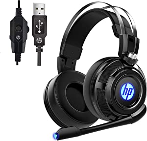 HP Wired Stereo Gaming Headset with mic, 7.1 Surround Sound Headphones for PC, Mac, Laptop, Over Ear Headphones and LED Light