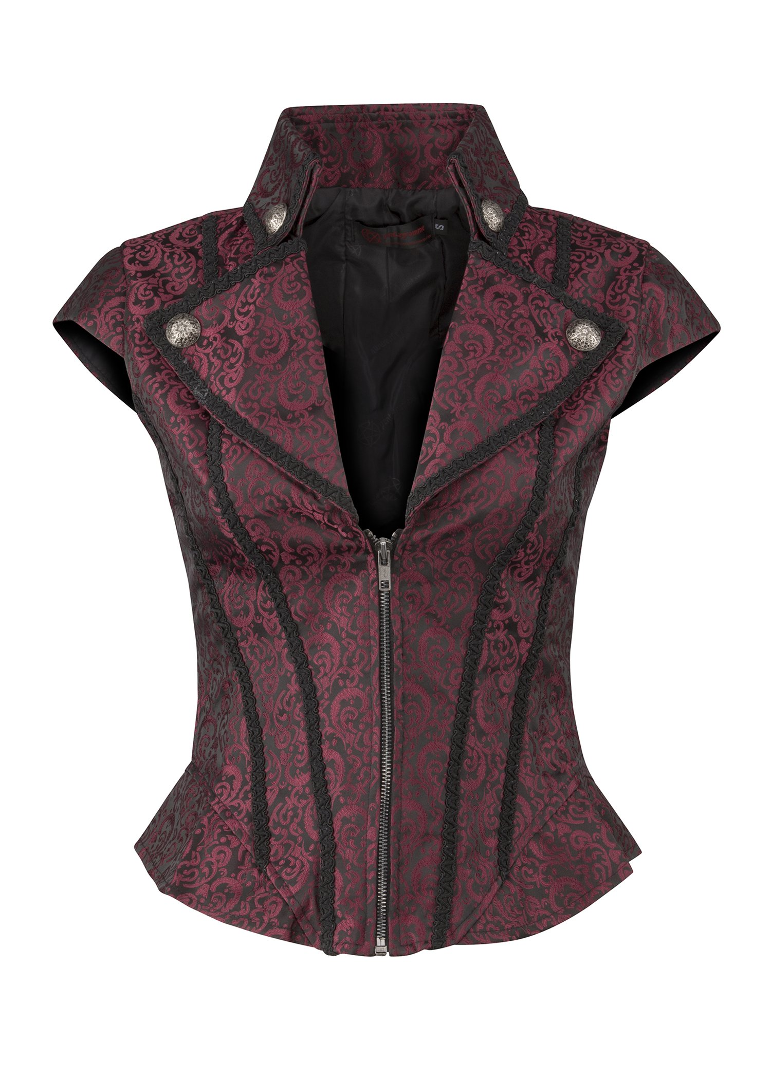 Pretty Attitude Womens Black and Red Brocade Goth Steampunk Vest Short Sleeve Jacket 3