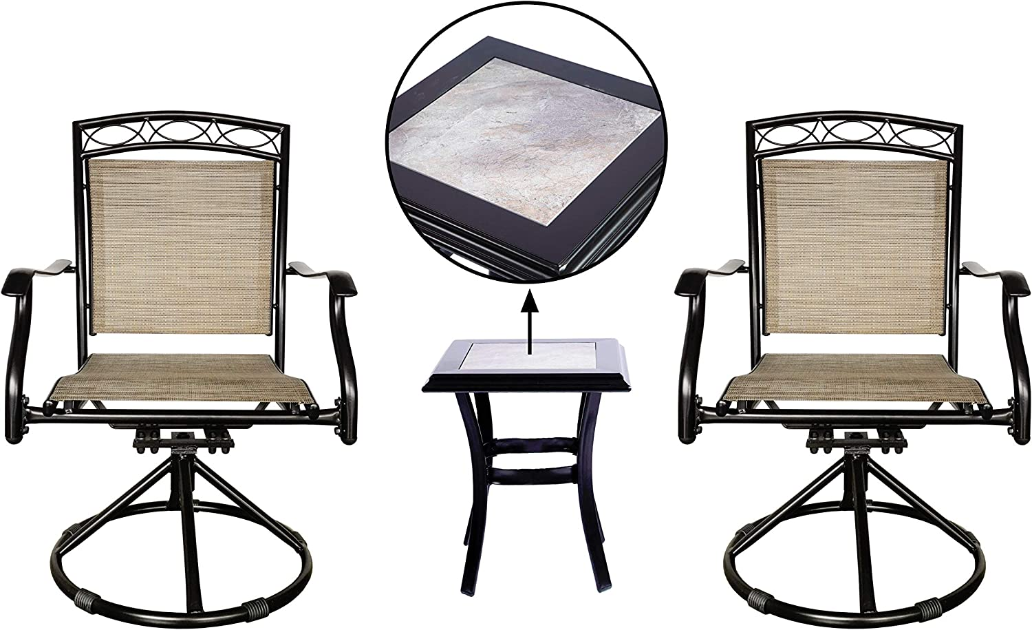 LUCKYBERRY Outdoor Swivel Chairs Set Patio Dining Rocker Bistro Chair of 2 Chairs, and 1 Table with Tile top, Brown