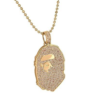 Ape custom hip hop pendant 14k rose gold finish pink lab diamonds ape custom hip hop pendant 14k rose gold finish pink lab diamonds 24quot mozeypictures Gallery