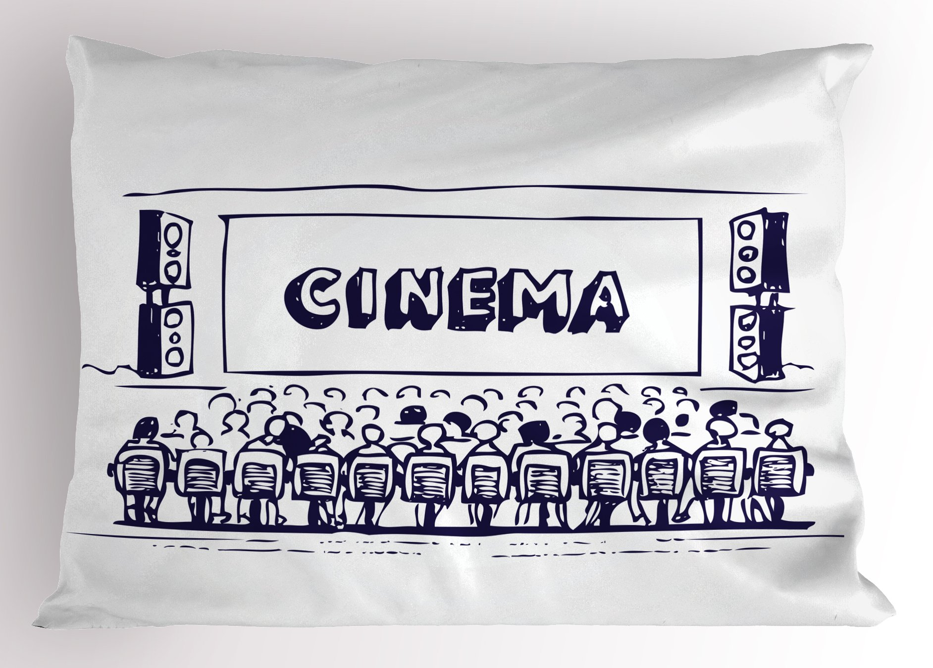 Ambesonne Movie Theater Pillow Sham, Hand Drawn Illustration Audience Sitting in Theater Waiting The Movie, Decorative Standard King Size Printed Pillowcase, 36 X 20 inches, Navy Blue White