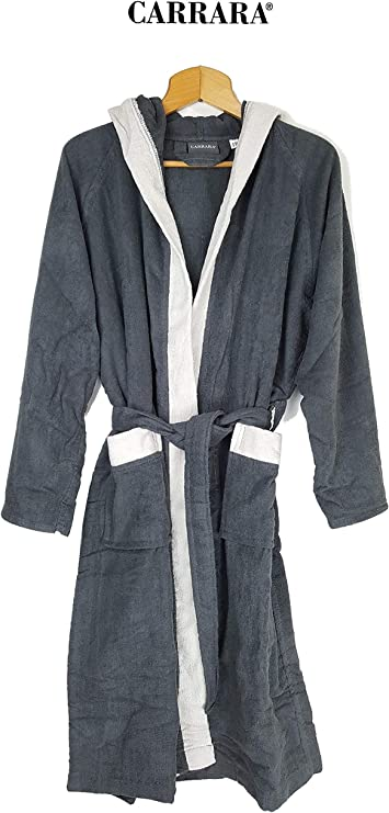 Carrara - Albornoz para Hombre y Mujer con Capucha, Rizo de Puro algodón (Gris, Talla S/M): Amazon.es: Hogar