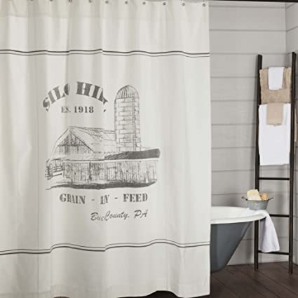 Piper Classics Silo Hill Shower Curtain 72x72 Farmhouse Style Bathroom Decor Printed Off
