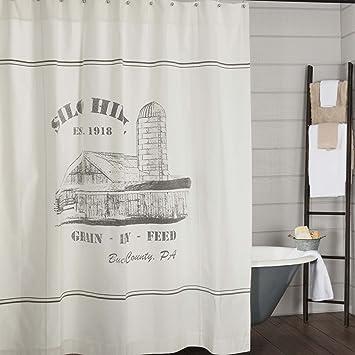 Amazon Piper Classics Silo Hill Shower Curtain 72x72 Farmhouse Style Bathroom Decor Printed Off White Canvas Home Kitchen