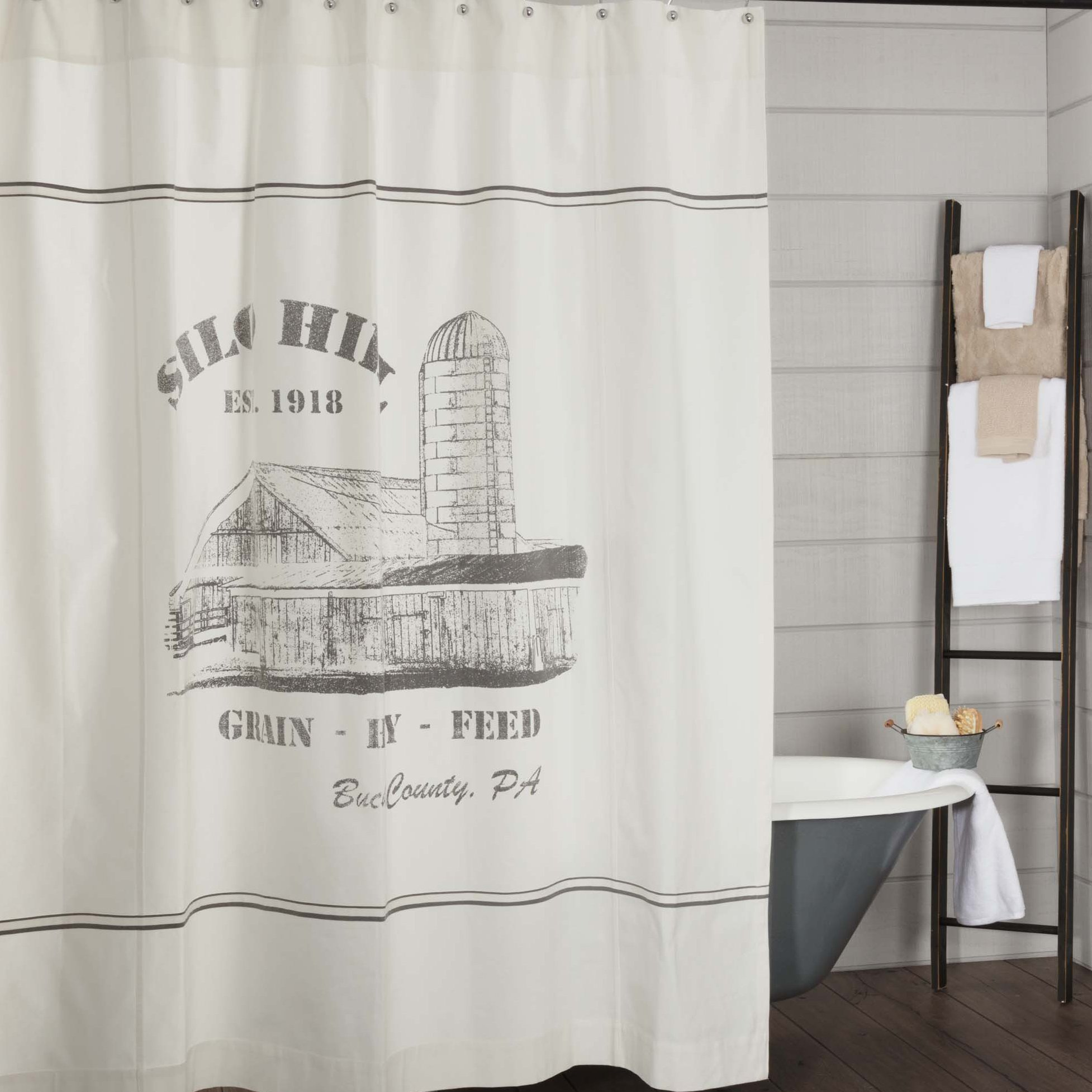 Piper Classics Silo Hill Shower Curtain, 72x72, Farmhouse Style Bathroom Décor, Printed Off White Canvas