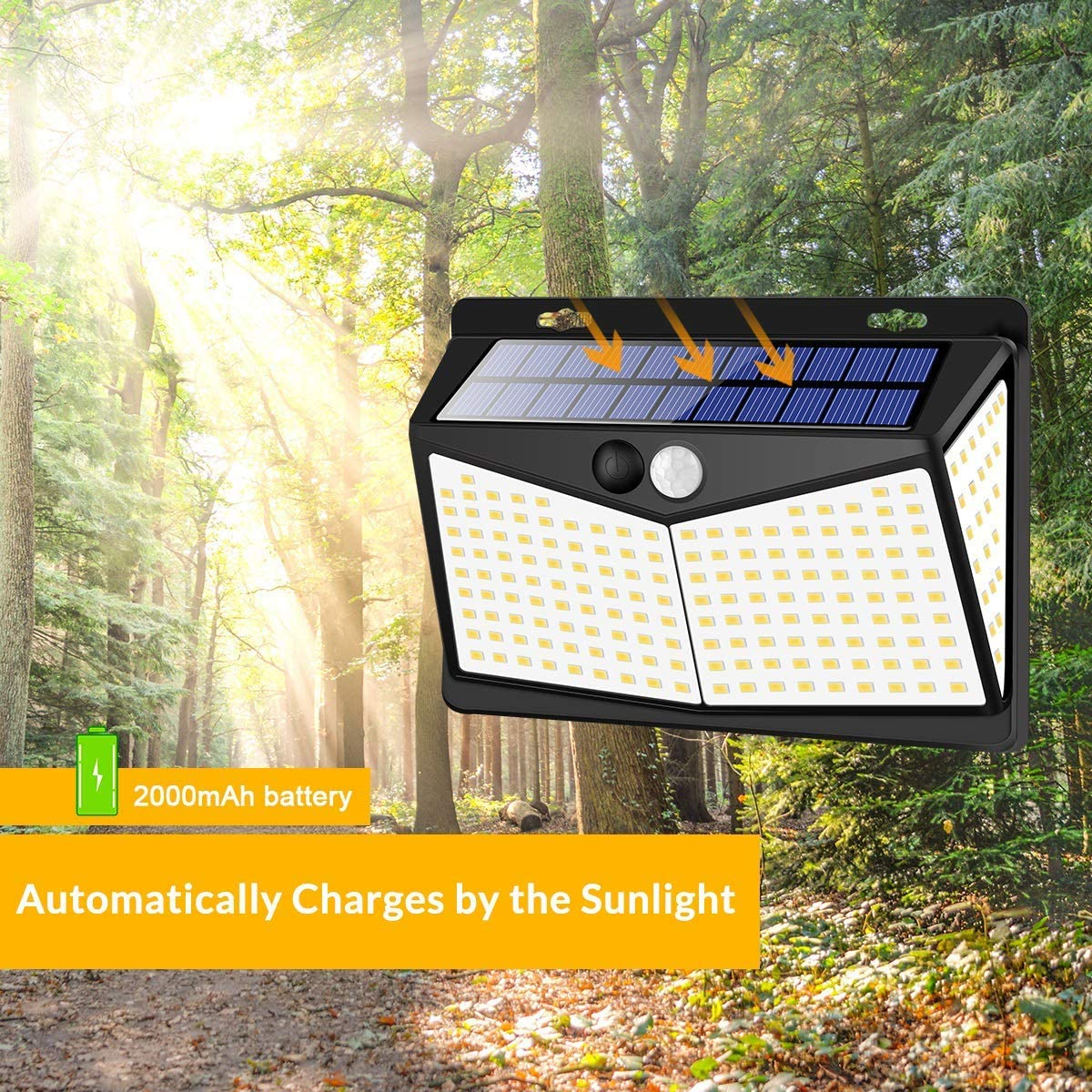 Solar Lights Outdoors 208 LED 3 Modes, Security Motion Sensor Night Lights, Wire-Free, IP65 Waterproof, Solar LED Light for Garden, Fence, Patio, Garage and Stairs 4 Pack