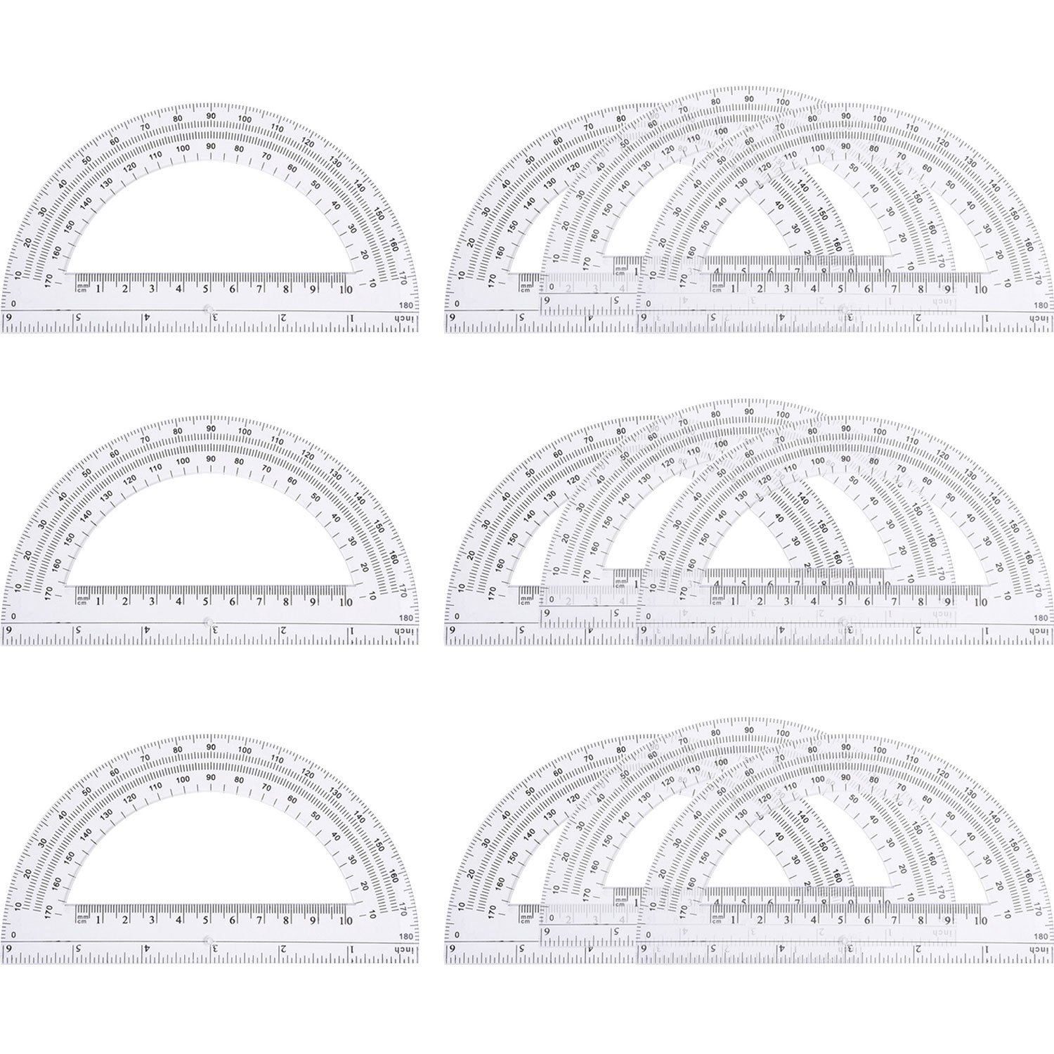 eBoot 12 Pack Plastic Protractors 180 Degrees, 6 Inches, Clear by eBoot (Image #1)