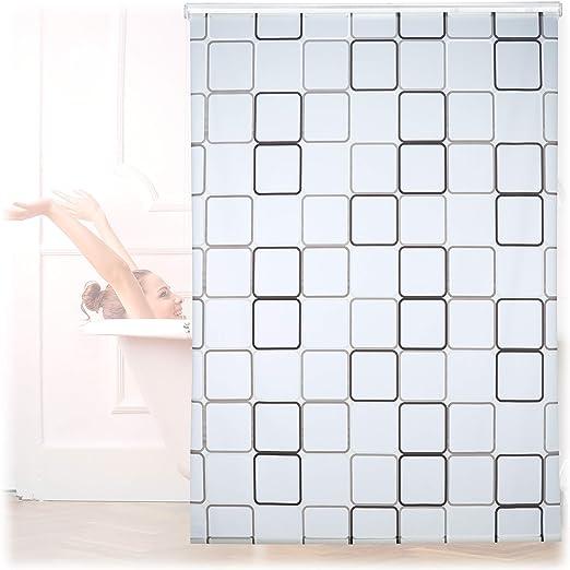 Relaxdays, Semitransparente, 160x240 cm Cortina de Ducha Square, A Cuadros, Soporte de Techo, PVC-Plástico-Aluminio: Amazon.es: Hogar