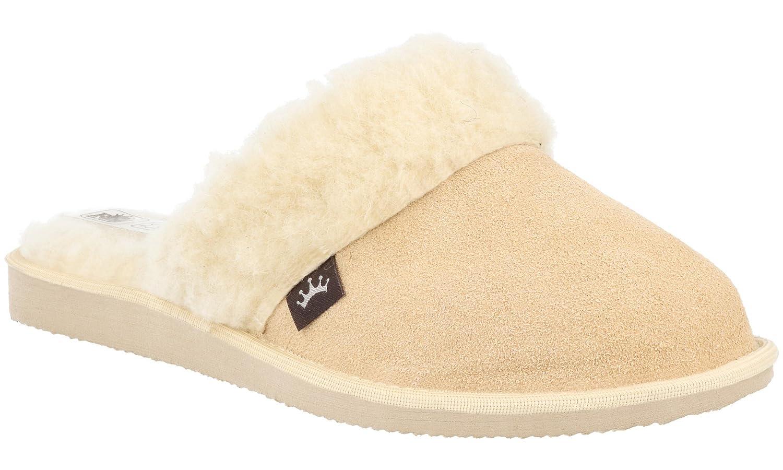 RBJ leather shoes . Pantofole Scamosciate da Donna Modello Imbottito in Morbida Lana di Pecora, in Scatola da Regalo (Opzionale) Beige