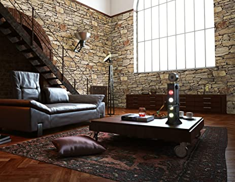 Hot Memory 3D Vintage Embossed Stone Brick Effect Vinyl Wallpaper For Bedroom Living Room TV Background