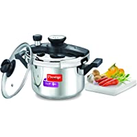 Prestige Clip-on Mini Induction Base Stainless Steel Pressure Cooker with Lid, 3 Litre, Metallic Silver