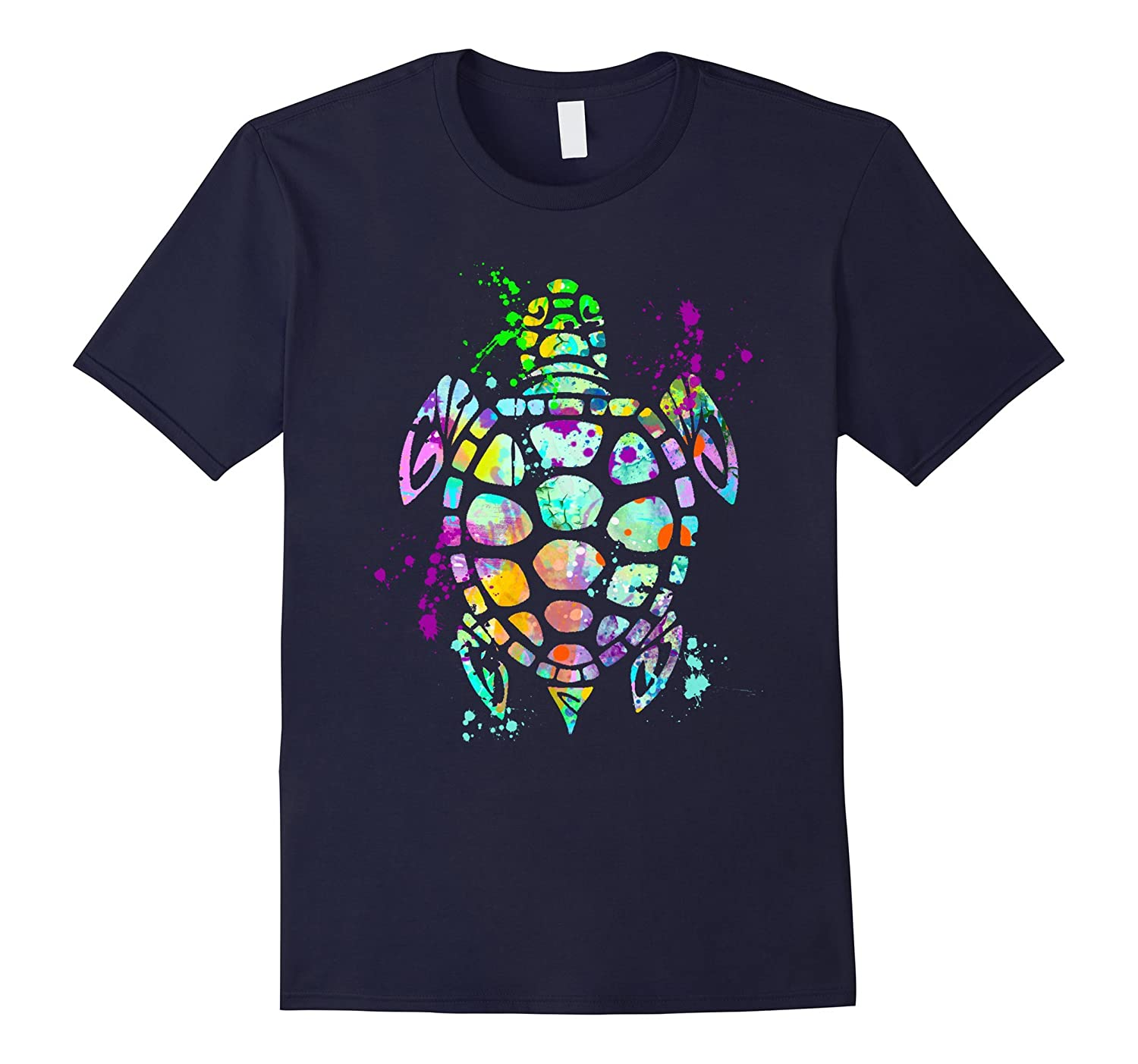 Sea Turtle T-Shirt Watercolor Splash Love Turtles Tee Shirt-TD