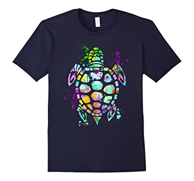 ddb5088a Men's Sea Turtle T-Shirt, Watercolor Splash Love Turtles Tee Shirt 2XL Navy