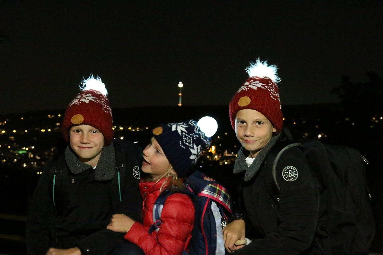 H/ÖCHSTE Sicherheit f/ür Ihr Kind durch leuchtende Graue LED Bommel-Kinderm/ütze 360/° Stirnlampe Kinder Gr/ö/ße M Weltweit erste M/ütze mit AKTIVEN LEUCHTBOMMEL Glowbee M/ütze mit Licht
