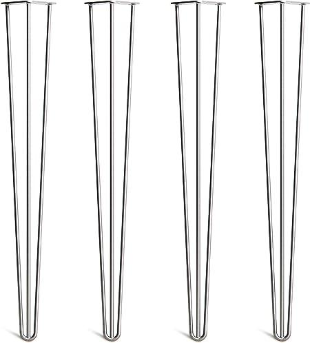 Lot 4 Pieds En /Épingle /À Cheveux En Acier 10mm Haute Qualit/é Prot/ège-Pieds Style Milieu 20/ème Si/ècle Guide Installation Disponible Dans 10-86cm Et Une Gamme Compl/ète De Finitions Vis Inclus