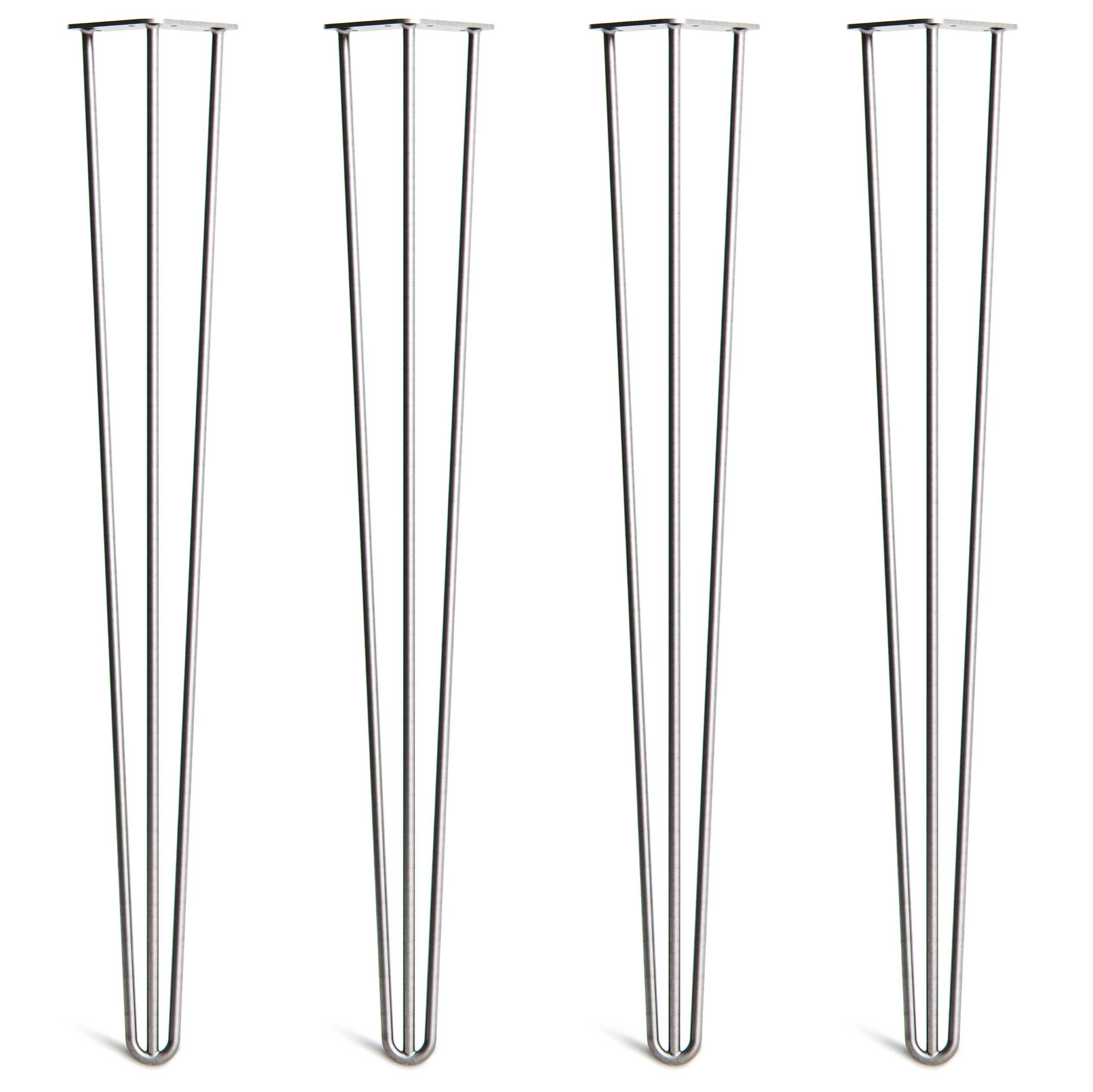 4 x Hairpin Table Legs - Superior Double Weld Steel Construction with Free Screws, Build Guide & Protector Feet, Worth $10! - 4'' to 34'', All Finishes, Classic 3/8 inch [34'', 3 Rod, Raw]