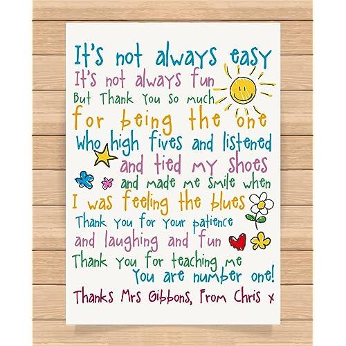 Personalised Thank You Poem Card Teaching Assistant Nursery Pre School Teacher