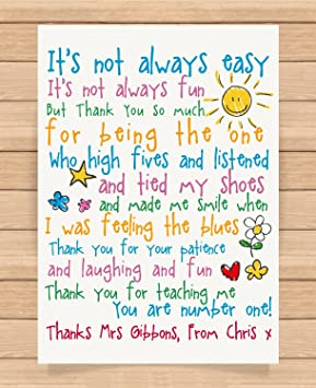 Personalised Presents Gifts For Teachers Leaving Christmas Xmas End Of Year Term Gifts From Nursery Kids Girls Boys Rhymes Poem Its Not Always Easy
