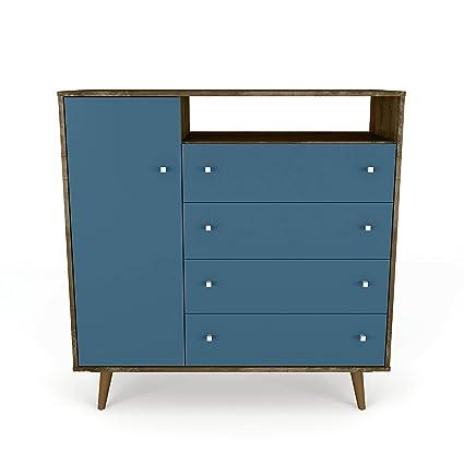 Superbe Manhattan Comfort 210BMC93 Liberty Modern Bedroom Armoire TV Stand, Rustic  Brown/Aqua Blue
