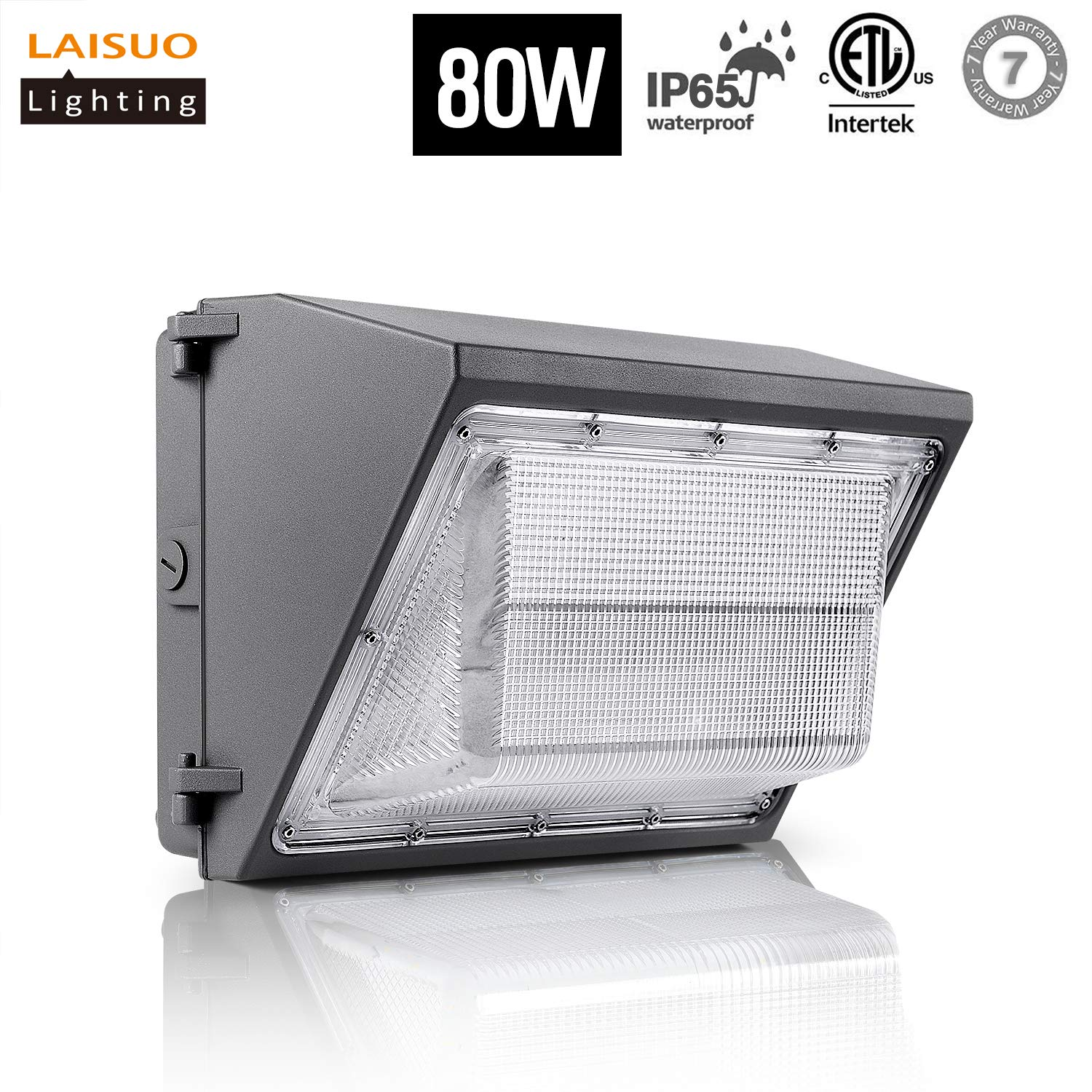 LED Wall Pack Light 80W Isolated Power 8970 Lumens 5000K Daylight White 250W Hps/MH Bulb Replacement Waterproof Outdoor Lighting for Home Security, Walkways,Die-Cast Aluminum Body, ETL Listed