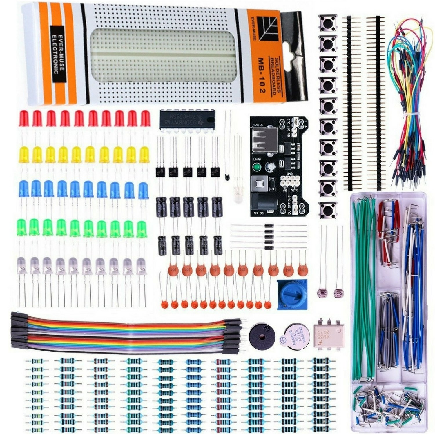 Quad Storetm Basic Electronics Kit For Arduino Uno R3 Raspberry Hobby Circuits Cricket Voice With Buzzer Using Lm324 Pi Breadboard Capacitor Resistor Led Switch Etc Industrial