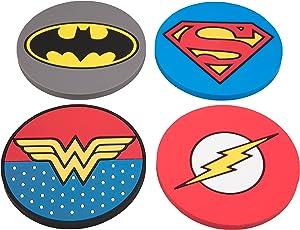 DC Justice League Super Hero Coaster Set - Batman, Superman, Wonder Woman, The Flash - Set of 4, PVC