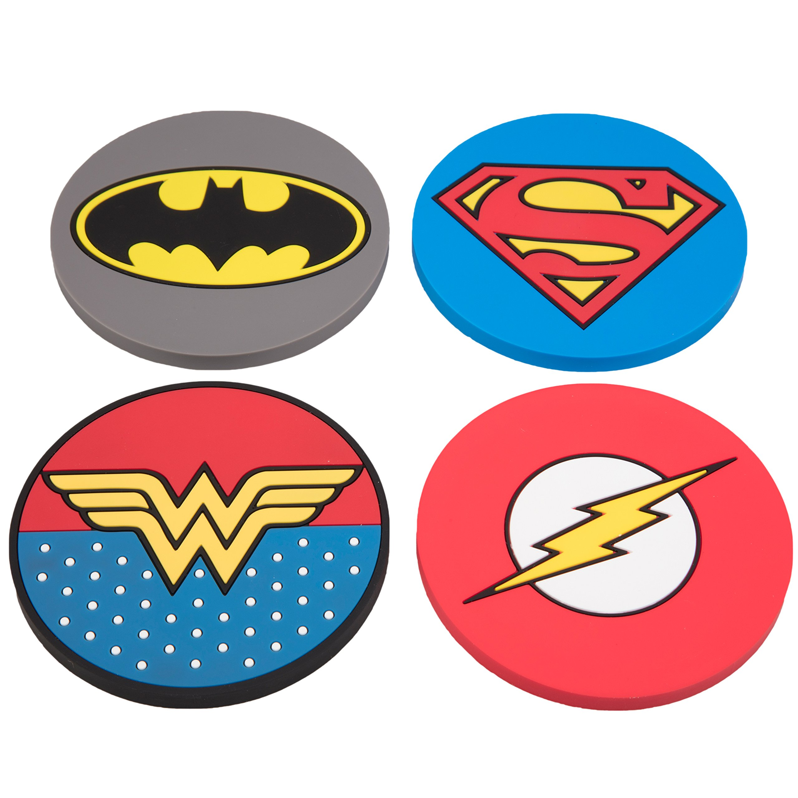 DC Justice League Super Hero Coaster Set - Batman, Superman, Wonder Woman, The Flash - Set of 4, PVC