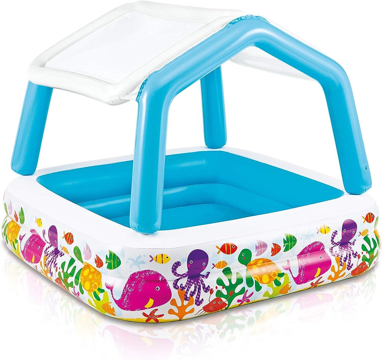 Intex 57470NP - Piscina hinchable infantil con toldo extraíble 157 x 157 x 122 cm 295 litros
