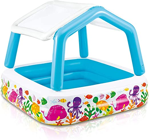 Intex 57470NP - Piscina hinchable infantil con toldo extraíble 157 x 157 x 122 cm 295 litros: Amazon.es: Jardín
