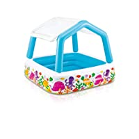 Intex Inflatable Childrens Pool with Sun Shade, Multicoloured, 1.57m x 1.57m x 1.22m
