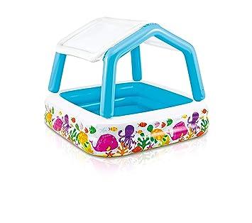 58aa4c6c9 Intex 57470NP - Piscina hinchable infantil con toldo extraíble 157 x 157 x  122 cm 295 litros: Amazon.es: Jardín