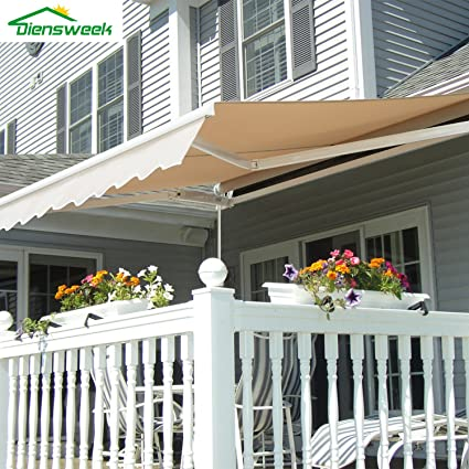 Diensweek 12'x10' Patio Awning Retractable Manual,Commercial Grade, Fully  Assembled, - Amazon.com : Diensweek 12'x10' Patio Awning Retractable Manual