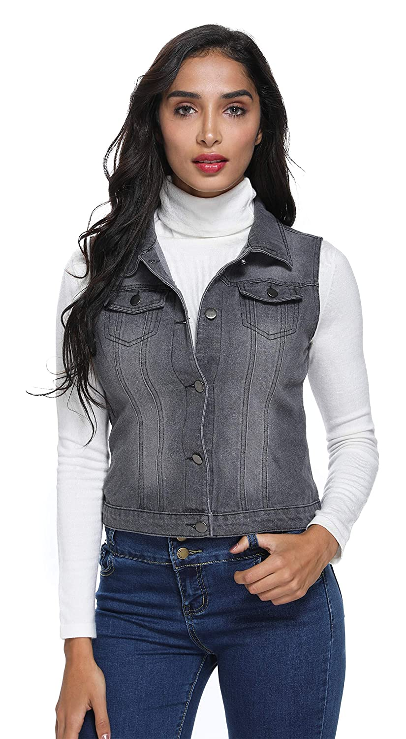 a75be14392 MISS MOLY Women's Cropped Buttoned Washed Jean Denim Vest-Jacket Fit Retro  Ripped Summer Classic W Chest Flap Pockets at Amazon Women's Coats Shop