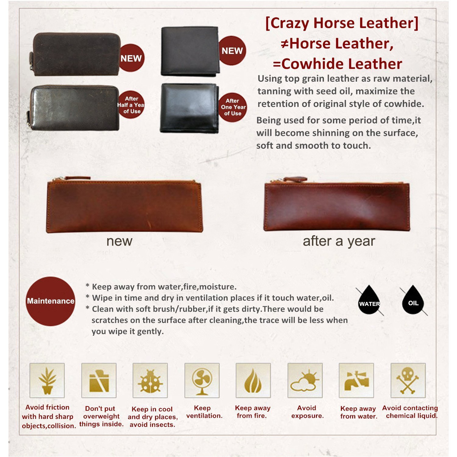 S-ZONE Crazy Horse Leather Shoulder Briefcase for 16 Inch Laptop Bag by S-ZONE (Image #7)