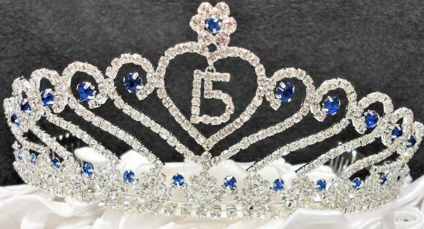1pcs Royal Blue Sweet 15 Quince Tiara Blue Rhinestone Crown with Charm Party Supplies