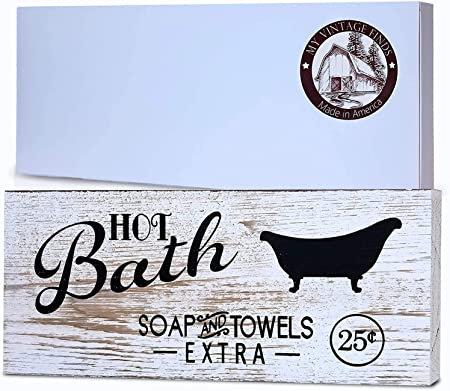 Amazon Com My Vintage Finds Hot Bath Sign Rustic Bathroom Decor And Farmhouse Bathroom Wall Decor Home Kitchen