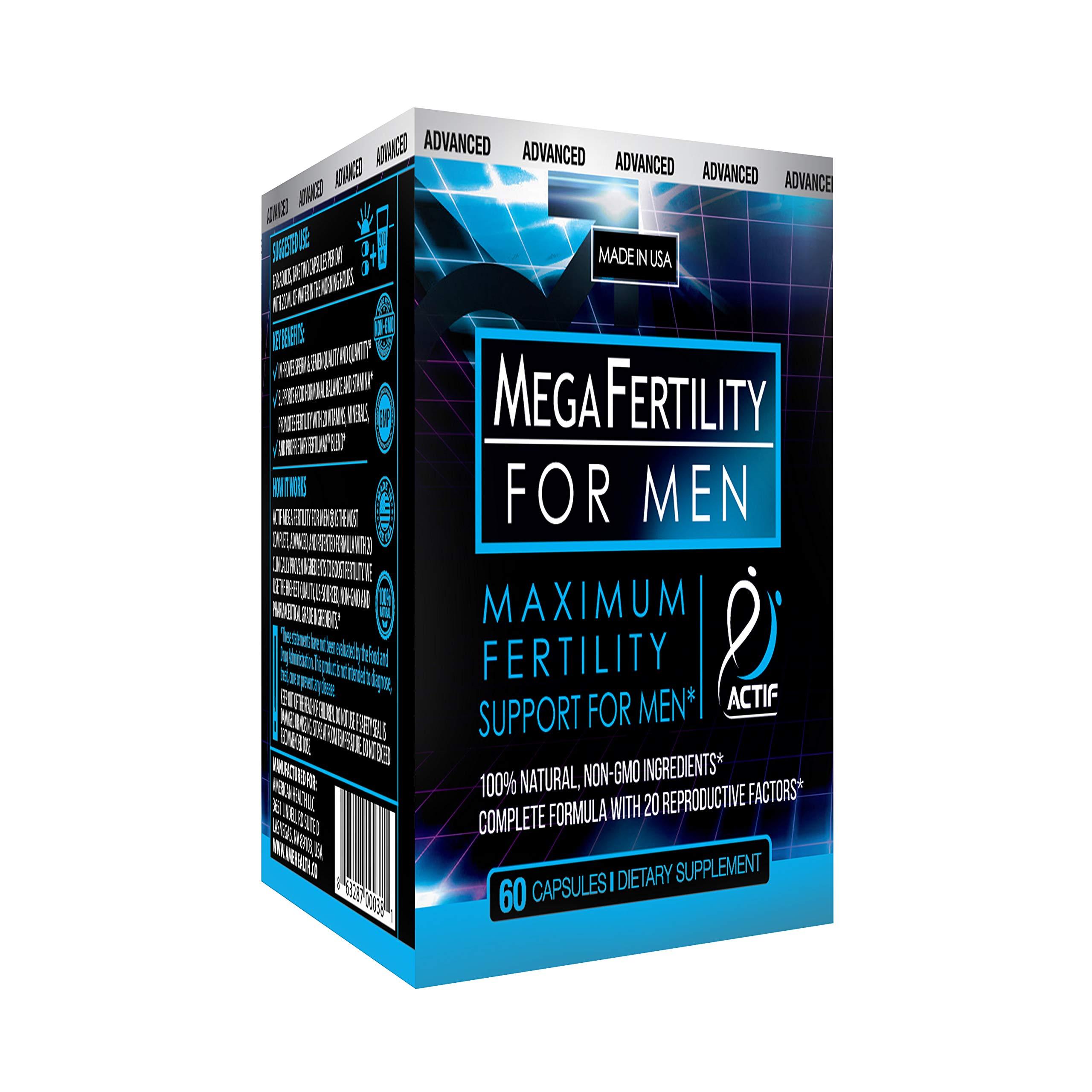 Actif Organic Mega Fertility Fertilmax for Men - Maximum Sperm Support - Non-GMO, Made in USA, 60 Count