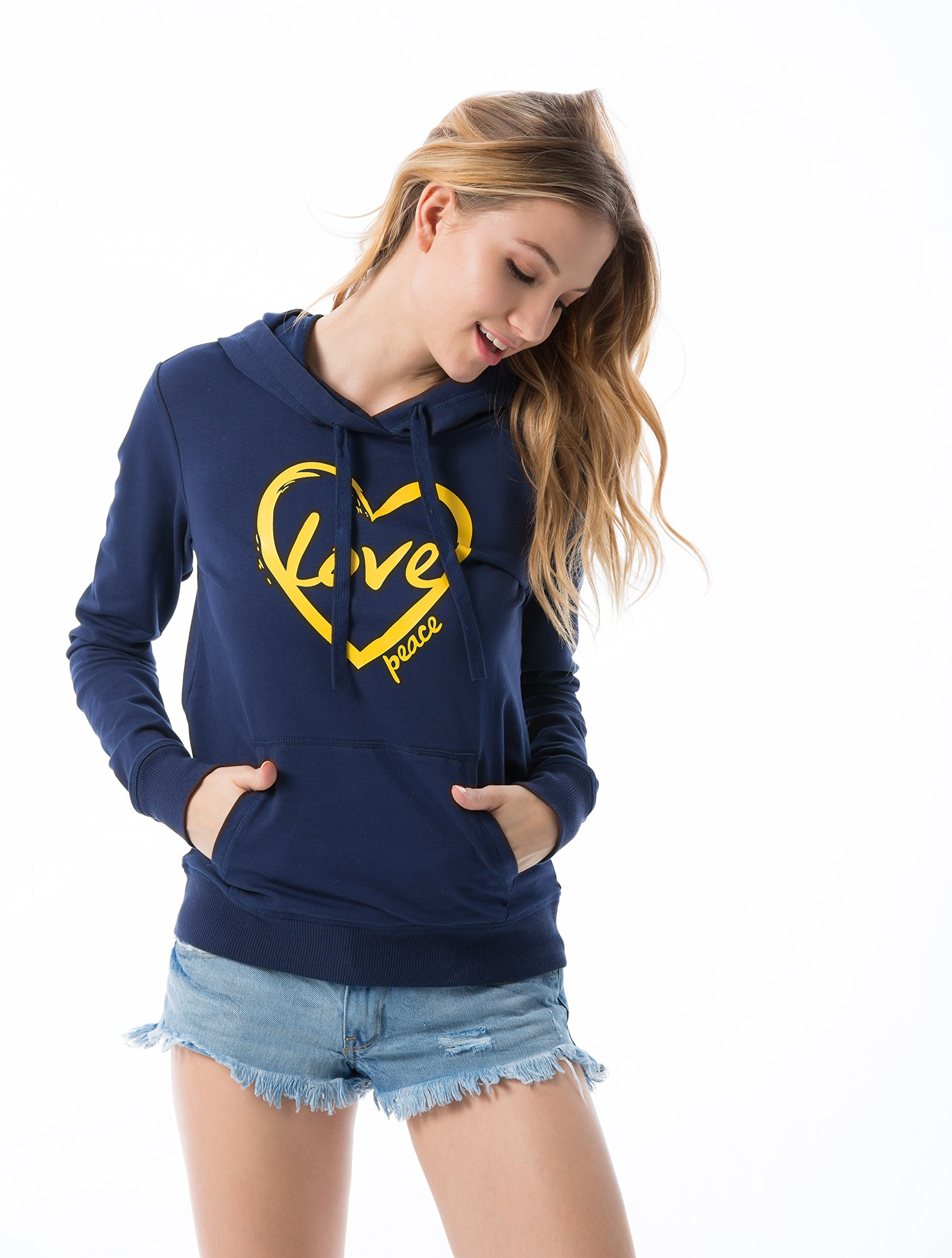VIVILISH WOMEN LOVE-HEART-PEACE FAVORITE HOODIE - Designed in Los Angeles,X-Small,Navy