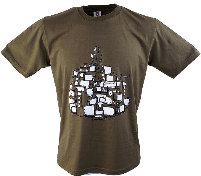 Guru-Shop, Camiseta de la Diversión `Ferrnseh Schrott`, Marrón, Algodón