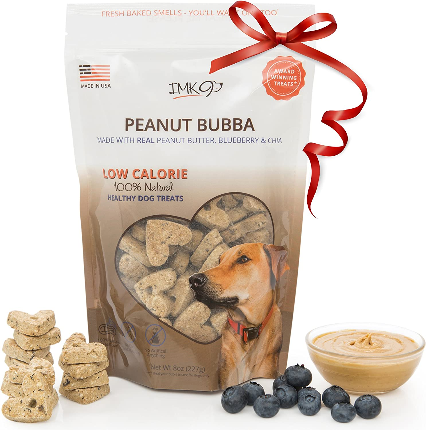 IMK9 Natural Training Treats Low Calorie - Limited Ingredients Made in USA – Peanut Butter, Organic, Healthy, Balanced, Diet Treat Bag for Dogs, Small Puppy, Big Pets – GMO, Grain, Gluten Free