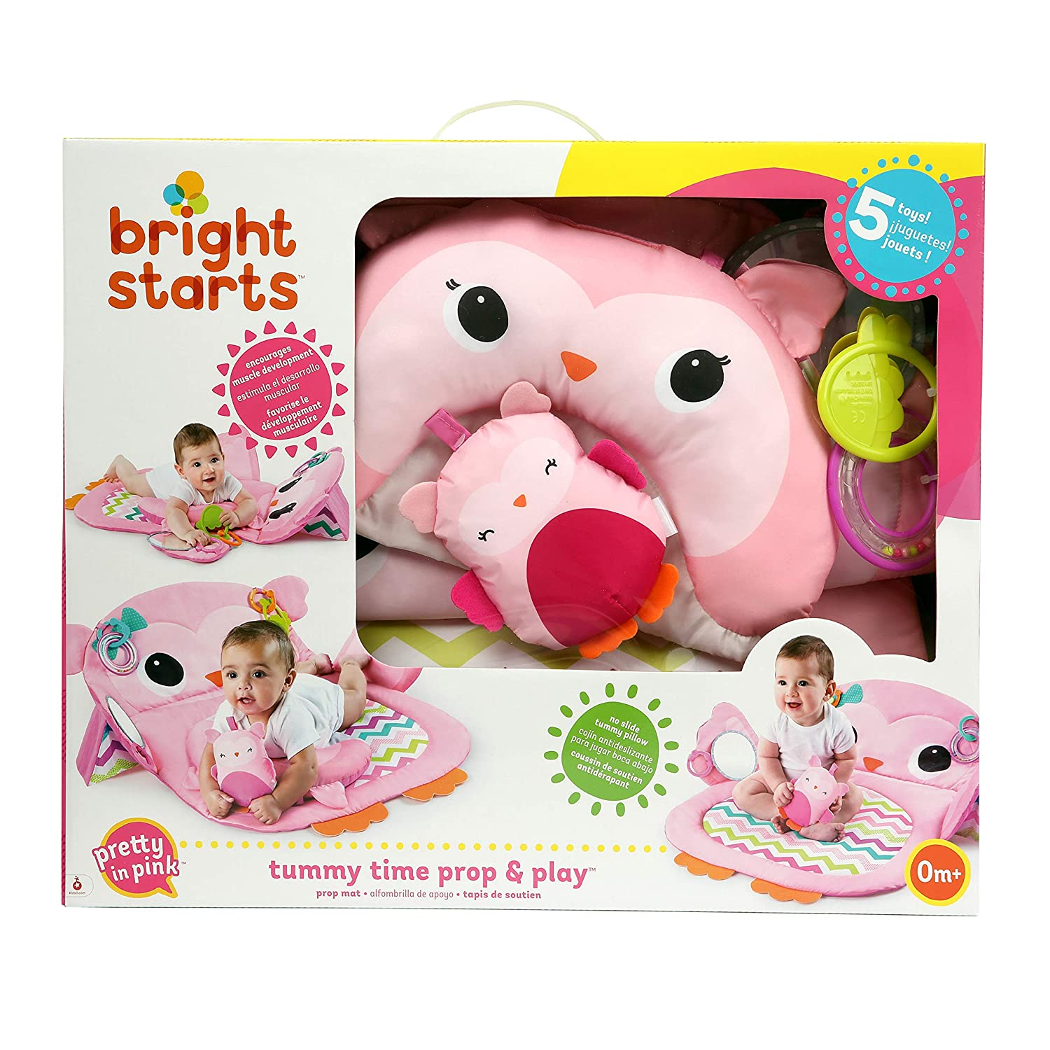 Bright Starts 11032 Tapis d/'Eveil Tummy Time Prop//Play