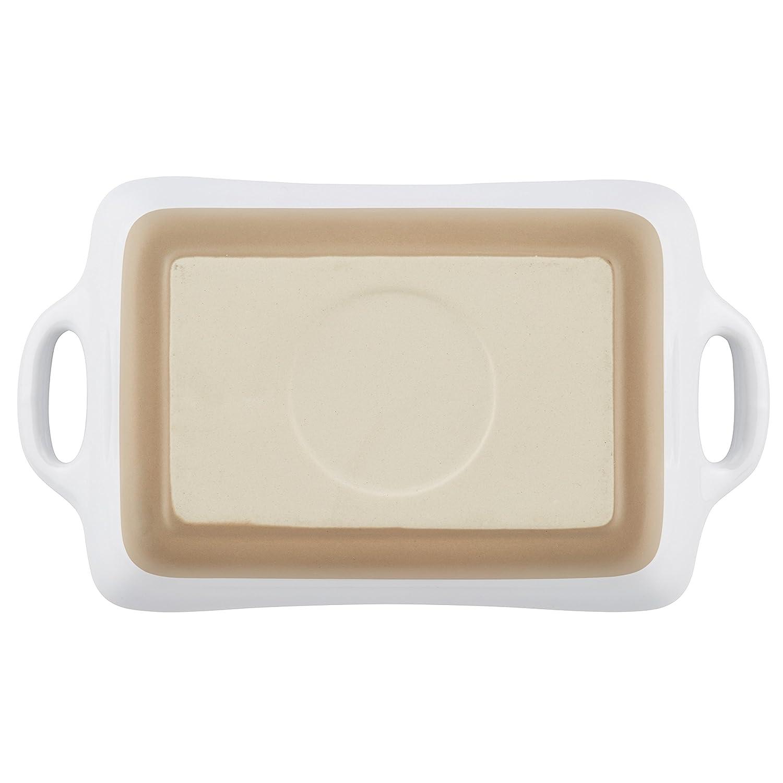 White Rachael Ray 47029 Stoneware Rectangular Small Au Gratin Pan 12 oz