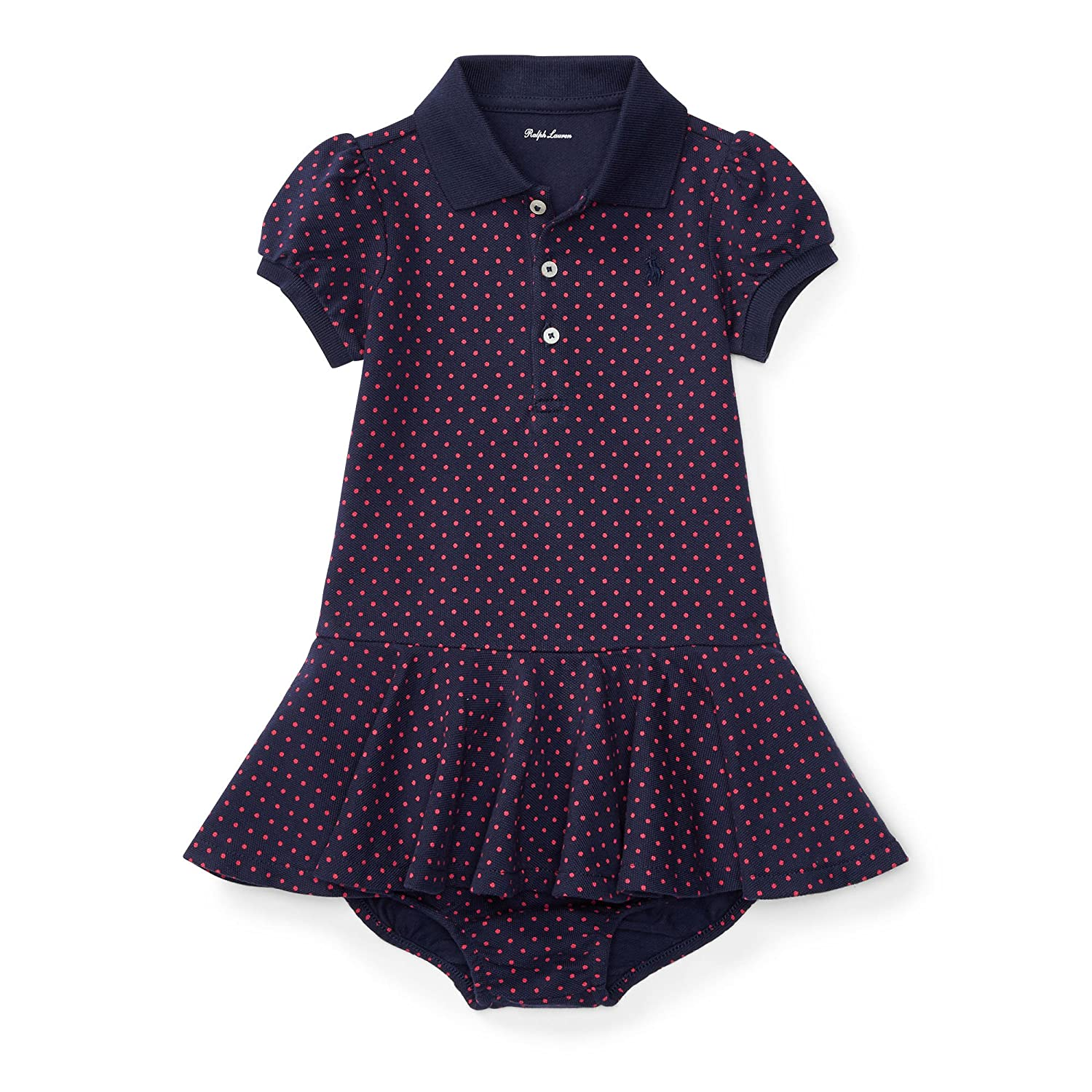 7aa1528bd Top10: Ralph Lauren Baby Girls Polka-Dot Polo Dress & Bloomer Set Navy/Pink