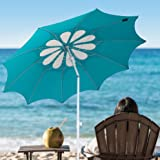 Ammsun 2017 10 Panels 7ft Polyester Fabric Heavy Duty Beach Umbrella, Adjustable Height, Hollow Pattern with Tilt UPF 50+ Teal /white