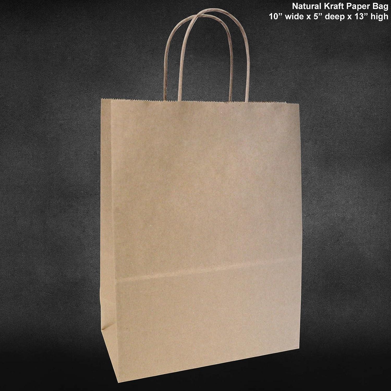 10x5x13 - 50 Pcs - Brown Kraft Paper Bags, Shopping, Mechandise, Party, Gift Bags Flexicore Packaging PK3N50